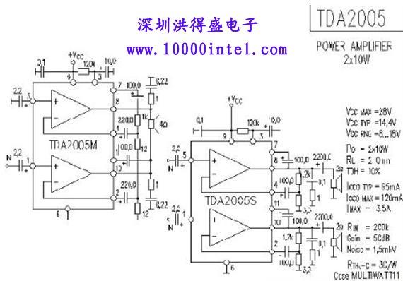 tda2005r管脚图及功放电路图图片